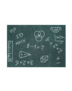 Washable Rectangular I Love Math Rug in White and Green for Kids