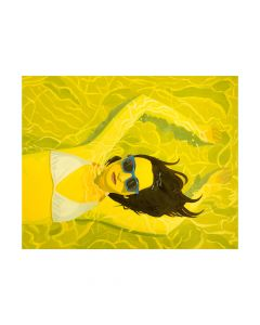 Water Babe Girl With Sunglasses in Pool Yellow Abstract Framed Wall Art