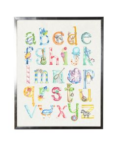 Watercolor ABCs Letter and Images Wall Art with Size and Frame Options