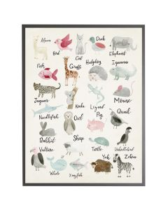 Watercolor Animal ABCs Wall Art with Size and Frame Options