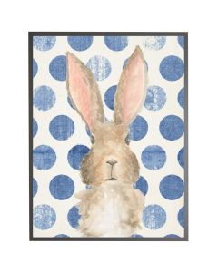 Watercolor Baby Bunny on Navy Polka Dots Wall Art with Size and Frame Options