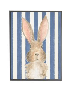 Watercolor Baby Bunny on Navy Stripes Wall Art with Size and Frame Options