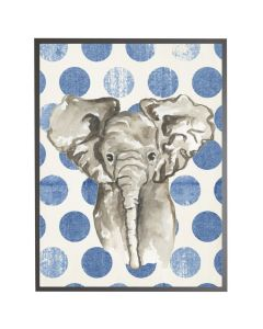 Watercolor Baby Elephant on Navy Polka Dots Wall Art with Size and Frame Options