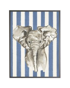 Watercolor Baby Elephant on Navy Stripes Wall Art with Size and Frame Options