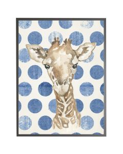 Watercolor Baby Giraffe on Navy Polka Dots Wall Art with Size and Frame Options