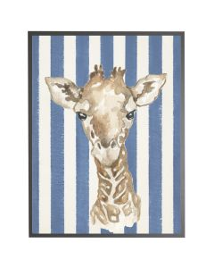 Watercolor Baby Giraffe on Navy Stripes Wall Art with Size and Frame Options