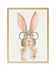 Watercolor Bunny with Glasses Wall Art with Size and Frame Options