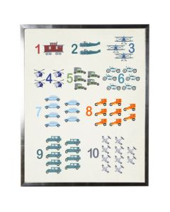 Watercolor Counting with Transportation Wall Art with Size and Frame Options