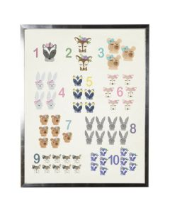 Watercolor Counting with Woodland Animals Wall Art with Size and Frame Options
