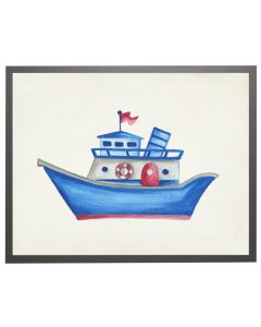 Watercolor Blue Boat Children's Wall Art With Size and Framing Options