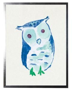 Watercolor Blue Owl Children's Wall Art With Size and Framing Options
