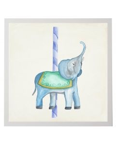 Watercolor Carousel Elephant Children's Wall Art With Size and Framing Options