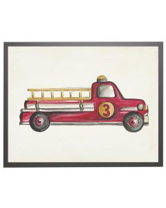 Watercolor Fire Truck Children's Wall Art With Size and Framing Options