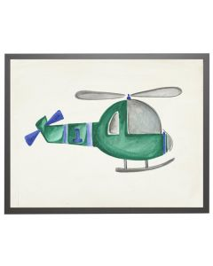 Watercolor Green and Blue Helicopter Children's Wall Art With Size and Framing Options
