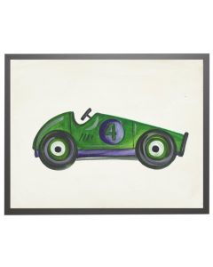 Watercolor Green Derby Car Children's Wall Art With Size and Framing Options