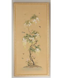 Watercolor on Silk Flowering Tree Chinoiserie Panel Wall Art With Gold Frame