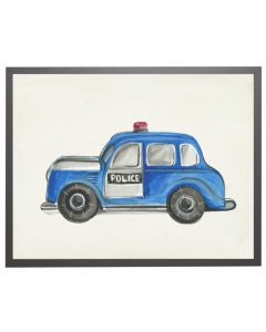 Watercolor Police Car Children's Wall Art With Size and Framing Options