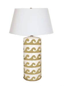 Wave Design Tole Small Table Lamp in Taupe with Shade