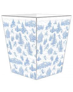 Blue Ski Toile Decoupage Wastebasket and Optional Tissue Box, Can Be Personalized