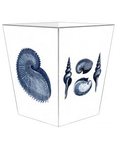 Navy Shells Decoupage Wastebasket and Optional Tissue Box Cover