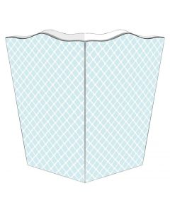 Chelsea Light Blue Decoupage Wastebasket and Optional Tissue Box Cover