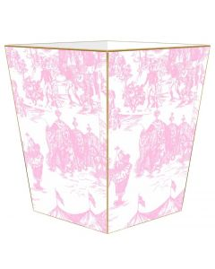 Pink Circus Toile Wastebasket and Optional Tissue Box Cover