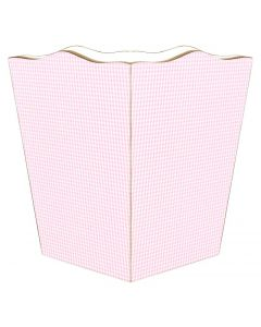 Pink Gingham Decoupage Wastebasket and Optional Tissue Box Cover
