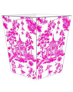 Pink Chinoiserie Pagoda Decoupage Wastebasket and Optional Tissue Box Cover