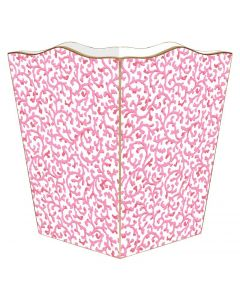 Pink Waverly Scroll Wastebasket and Optional Tissue Box Cover