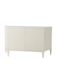 White Decorative Chest with Chip Carved Doors and Adjustable Shelves