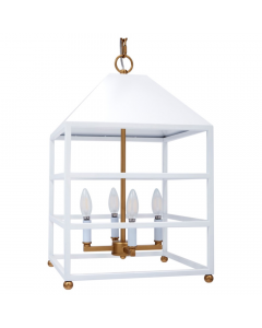 Glossy Hanging Lantern With Gold Accents - Available in Two Colors