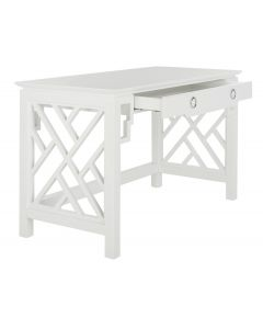 White Lacquer Desk With Ring Drawer Pulls
