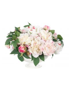 White & Pink Faux Peony Arrangement in White Ceramic Footed Bowl