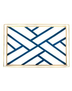 White and Blue Newport Fretwork Design Serving Tray