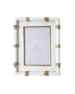White and Gold Bamboo Picture Frame- ON BACKORDER UNTIL OCTOBER 2021