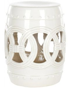 White Ceramic Garden Stool With Linked Coin Motif