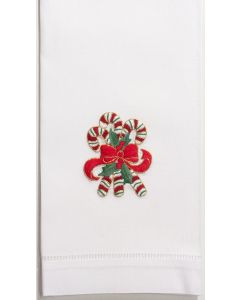 Set of 2 Candy Cane Christmas Hand Towels
