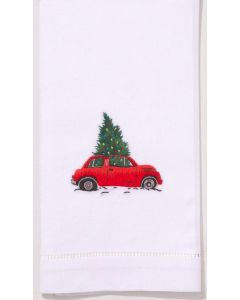Set of 2 Christmas Tree Car Embroidered Holiday Hand Towels
