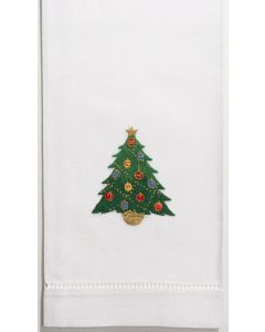 Set of 2 White Cotton Ornament Tree Christmas Hand Towels
