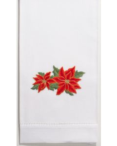 Set of 2 Poinsettia Design Christmas Hand Towels