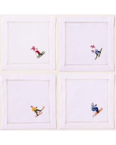 White Cotton Skiers Cocktail Napkins, Set of Four - OUT OF STOCK