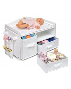 White Doll Changing Station With Rose Design And Baskets - OUT OF STOCK