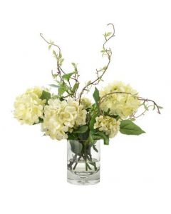 Faux White Hydrangea Arrangement With Curled Vine Flowers