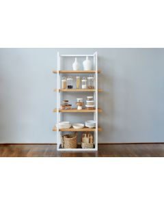 Kitchen Pantry Shelf Unit in White and Natural