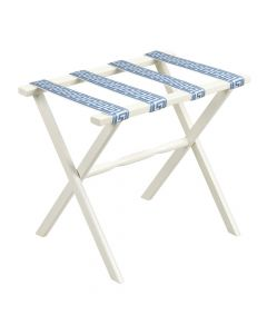 White Straight Leg Wood Luggage Rack with 4 White & Sky Blue Greek Key Straps- ON BACKORDER MID-LATE JUNE 2021