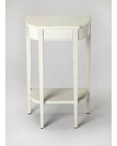 White Traditional Cottage Console Table with Tapered Legs and Carved Detail