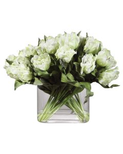 White Tulips in a Glass Vase Centerpiece