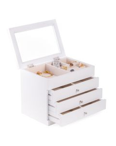 White Wood 3 Drawer Jewelry Case with Glass Top, Slots for Rings & Earrings, Velour Lined