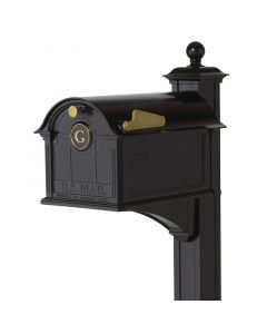 Black Standing Mailbox with Post - One Letter Monogram Personalization
