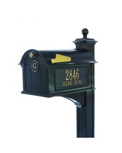 Black Mailbox with Side Plaques & Post - One Letter Monogram Personalization